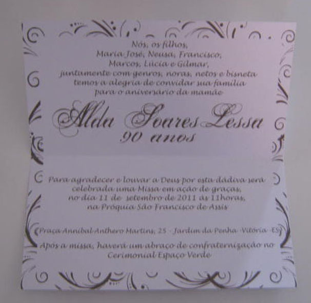 Convites Datas Especiais Tania Maria Ateliê